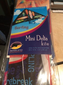 """Mini Delta kite. Available in several different patterns. 24x12""""/61x30 cm. $15"""