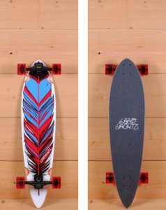 "The Landyachtz 36"" Maple Chief Feather is designed for carving and cruising. Pressed with 5 plies of vertically laminated maple, it measures 36"" long and 8.75"" wide. The directional shape has wheel wells to reduce wheel bite. The platform has a mild W concave for support with soft top grip for comfort."