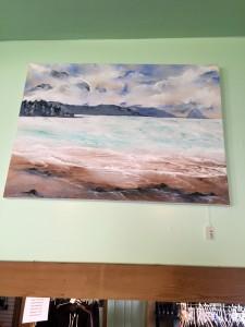 Acrylic beach painting on canvas by Sarah Barnhardt. 250$