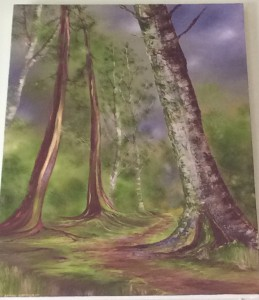 Acrylic forest painting on canvas by Sarah Barnhardt. $275