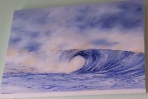 Acrylic Wave painting on canvas by Sarah Barnhardt. $250