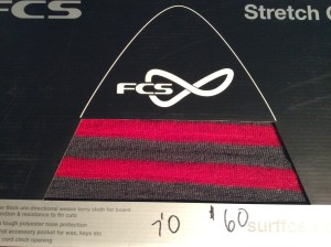 FCS Stretch Covers for funboards. Woven terry cloth with polyester nose protection and extra pockets for accessories.  7.0 and 8.0 in stock.