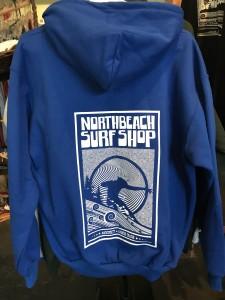 Blue zip Hoodie Hang Ten logo on back. $70.