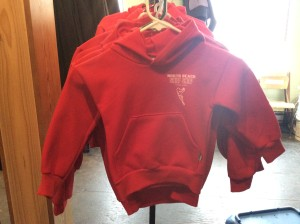 Red toddlers hoodie, sizes 2-6. $35
