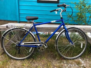 Blue bike with holder in the back. $300