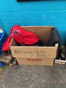 Hoodies, shirts, blazers $25. Pants $10